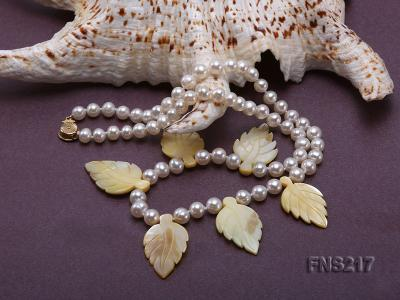 natural 6-7mm white round freshwater pearl with light yellow gemstone single strand necklace  FNS217 Image 4