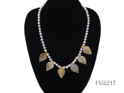 natural 6-7mm white round freshwater pearl with light yellow gemstone single strand necklace  FNS217 Image 5