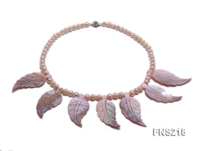 natural 6-7mm pink round freshwater pearl necklace with pink shells FNS218 Image 1