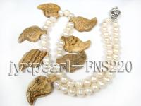 natural 7-8mm white round freshwater pearl with yellow gemstone single strand necklace  FNS220