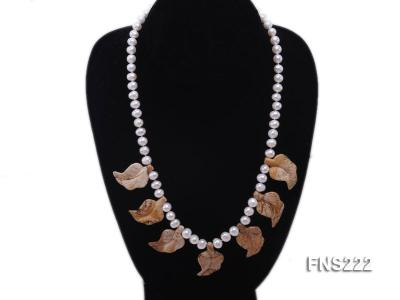 7-8mm Natural White Round Freshwater Pearl With Yellow Gemstone Necklace FNS222 Image 3