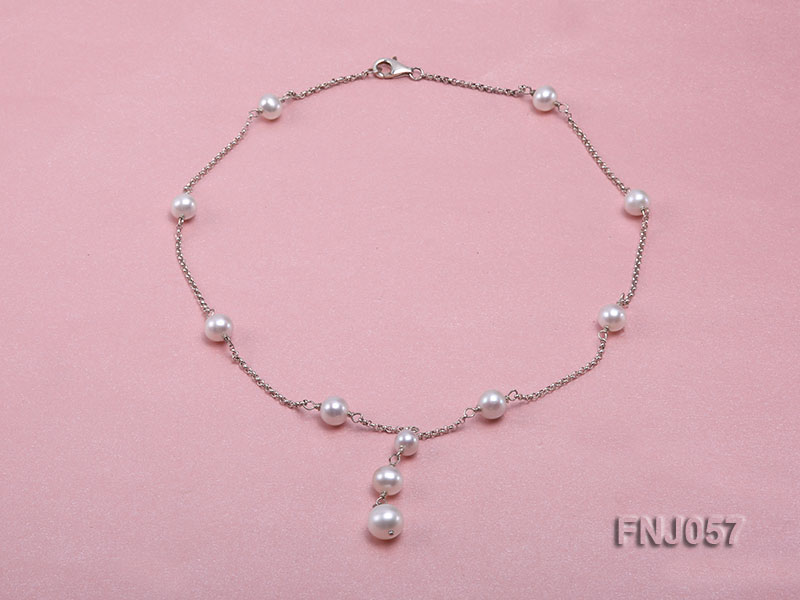 8-10mm White Round Pearl Station Necklace with a Silver Chain big Image 1