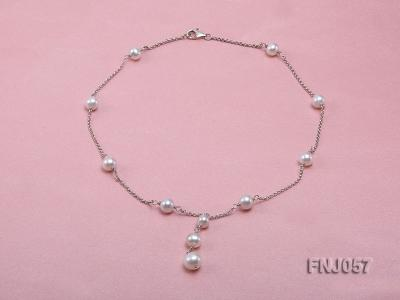 8-10mm White Round Pearl Station Necklace with a Silver Chain FNJ057 Image 1