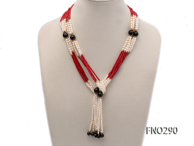 4x6mm pink rice pearl and red round coral and faceted black agate multi-strand necklace big Image 1