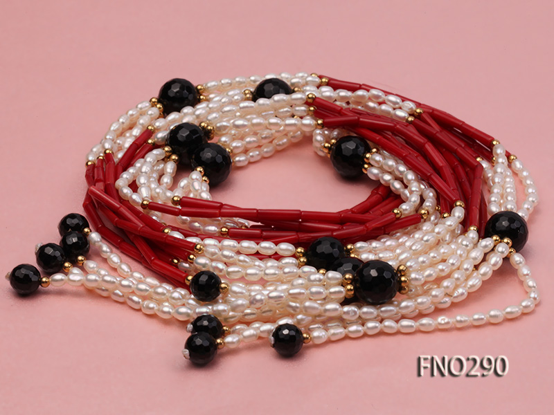 4x6mm pink rice pearl and red round coral and faceted black agate multi-strand necklace big Image 3