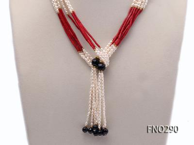 4x6mm pink rice pearl and red round coral and faceted black agate multi-strand necklace FNO290 Image 2