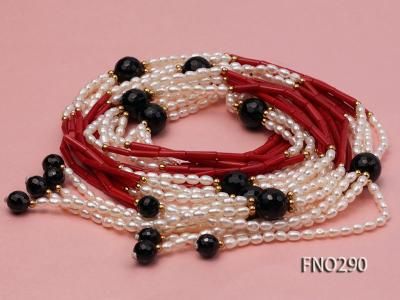 4x6mm pink rice pearl and red round coral and faceted black agate multi-strand necklace FNO290 Image 3