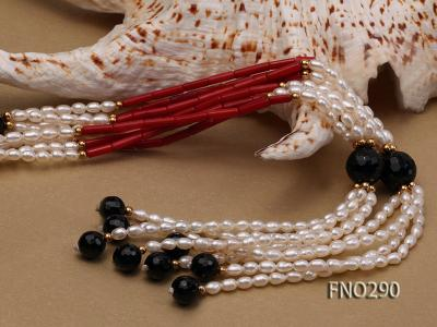 4x6mm pink rice pearl and red round coral and faceted black agate multi-strand necklace FNO290 Image 4