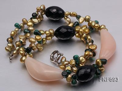 Tow-strand Yellow Freshwater Pearl, Faceted Black Agate, Crystal Beads and Pink Agate Necklace FNF593 Image 3