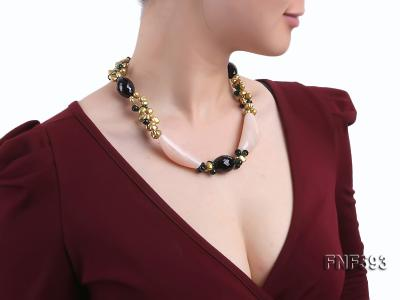 Tow-strand Yellow Freshwater Pearl, Faceted Black Agate, Crystal Beads and Pink Agate Necklace FNF593 Image 6