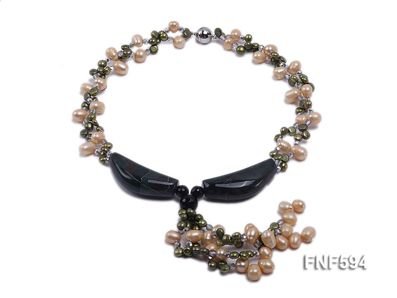Two-strand Freshwater Pearl, Crystal Beads and Agate Necklace big Image 1