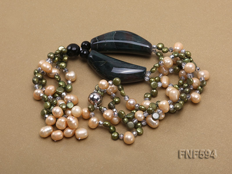 Two-strand Freshwater Pearl, Crystal Beads and Agate Necklace big Image 2