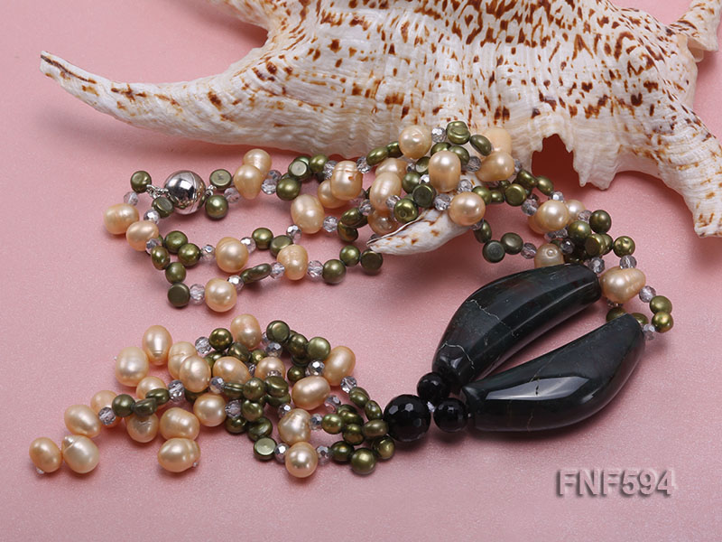 Two-strand Freshwater Pearl, Crystal Beads and Agate Necklace big Image 3
