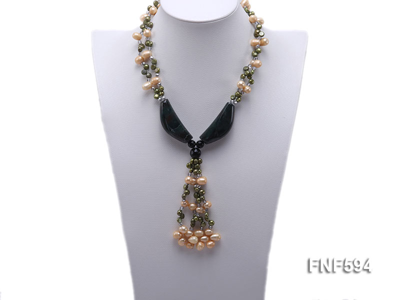 Two-strand Freshwater Pearl, Crystal Beads and Agate Necklace big Image 4