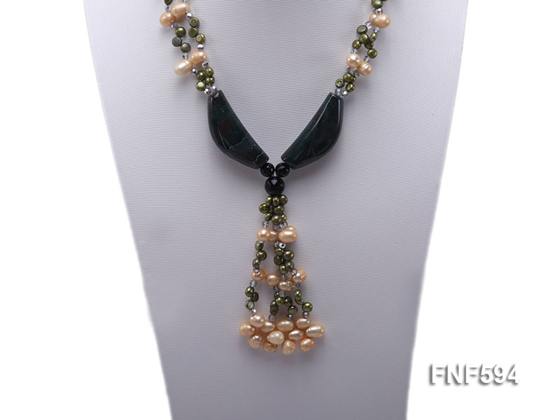 Two-strand Freshwater Pearl, Crystal Beads and Agate Necklace big Image 5
