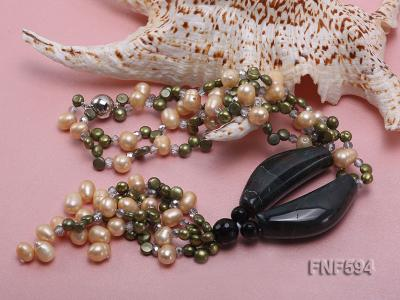 Two-strand Freshwater Pearl, Crystal Beads and Agate Necklace FNF594 Image 3