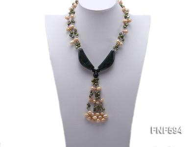 Two-strand Freshwater Pearl, Crystal Beads and Agate Necklace FNF594 Image 4