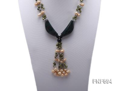 Two-strand Freshwater Pearl, Crystal Beads and Agate Necklace FNF594 Image 5