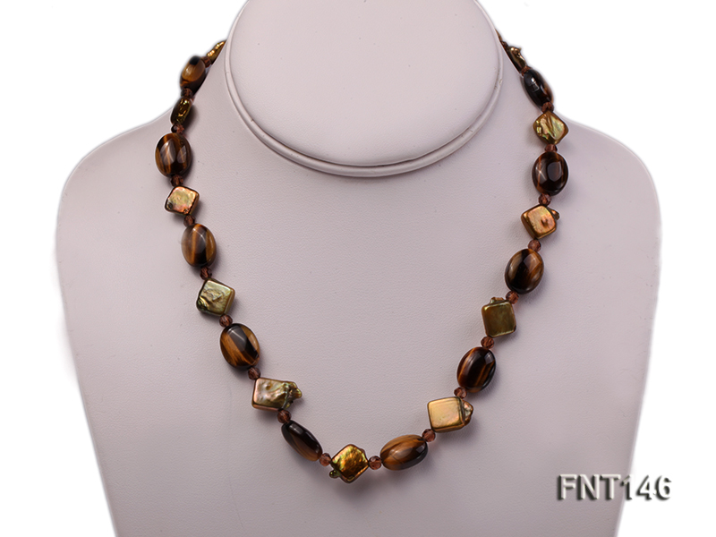 Freshwater Pearl and Tiger-eye Beads Necklace, Bracelet and Earrings Set big Image 2