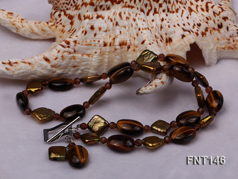 Freshwater Pearl and Tiger-eye Beads Necklace, Bracelet and Earrings Set big Image 4