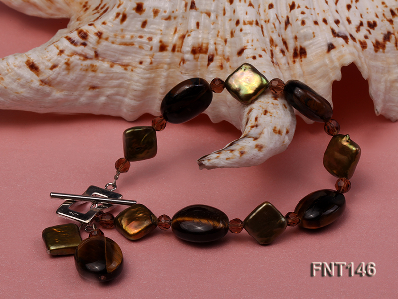 Freshwater Pearl and Tiger-eye Beads Necklace, Bracelet and Earrings Set big Image 5