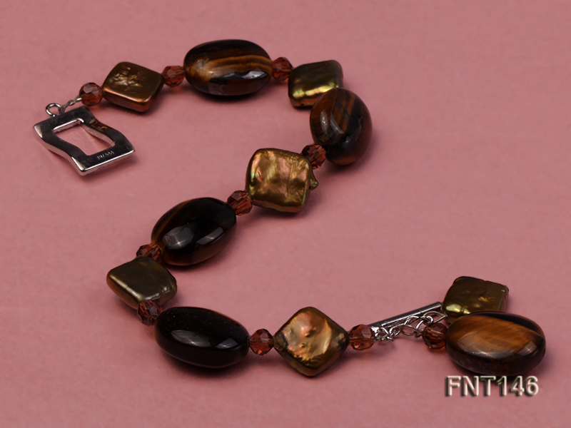 Freshwater Pearl and Tiger-eye Beads Necklace, Bracelet and Earrings Set big Image 6