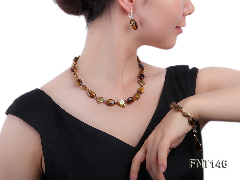 Freshwater Pearl and Tiger-eye Beads Necklace, Bracelet and Earrings Set big Image 7