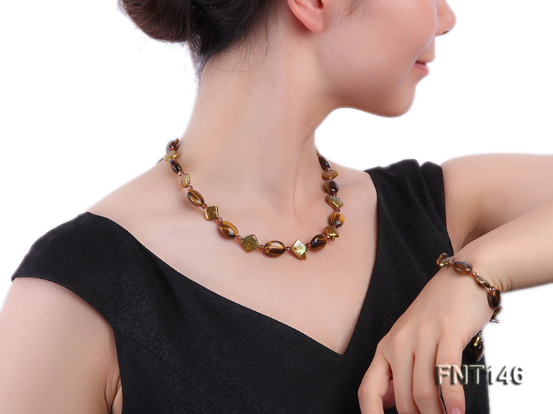 Freshwater Pearl and Tiger-eye Beads Necklace, Bracelet and Earrings Set big Image 8