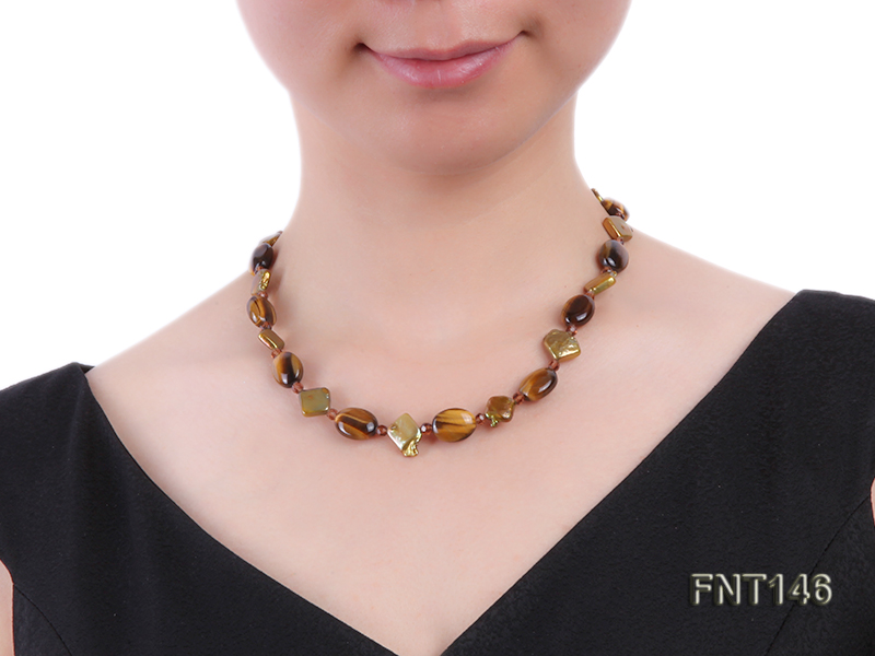 Freshwater Pearl and Tiger-eye Beads Necklace, Bracelet and Earrings Set big Image 9