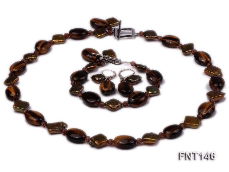 Freshwater Pearl and Tiger-eye Beads Necklace, Bracelet and Earrings Set big Image 1