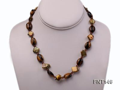 Freshwater Pearl and Tiger-eye Beads Necklace, Bracelet and Earrings Set FNT146 Image 2