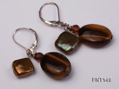Freshwater Pearl and Tiger-eye Beads Necklace, Bracelet and Earrings Set FNT146 Image 3