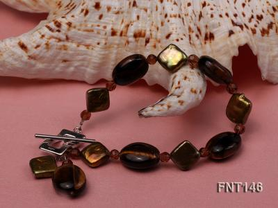 Freshwater Pearl and Tiger-eye Beads Necklace, Bracelet and Earrings Set FNT146 Image 5