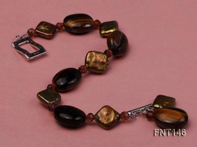 Freshwater Pearl and Tiger-eye Beads Necklace, Bracelet and Earrings Set FNT146 Image 6