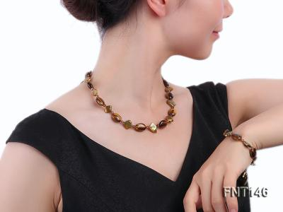 Freshwater Pearl and Tiger-eye Beads Necklace, Bracelet and Earrings Set FNT146 Image 8