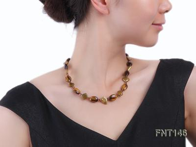 Freshwater Pearl and Tiger-eye Beads Necklace, Bracelet and Earrings Set FNT146 Image 10