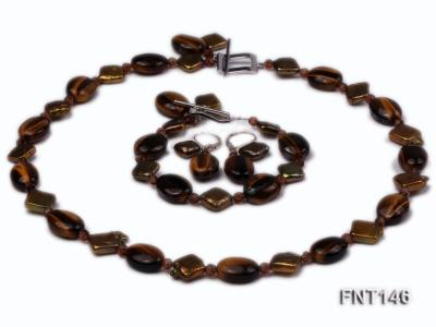 Freshwater Pearl and Tiger-eye Beads Necklace, Bracelet and Earrings Set FNT146 Image 1