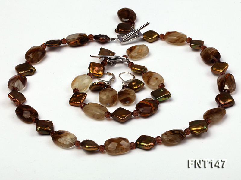 Rhombus Freshwater Pearl & Smoky Quartz Beads Necklace, Bracelet and Earrings Set big Image 1