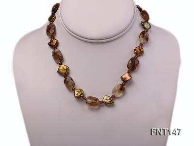 Rhombus Freshwater Pearl & Smoky Quartz Beads Necklace, Bracelet and Earrings Set FNT147 Image 2