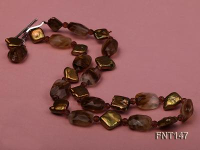 Rhombus Freshwater Pearl & Smoky Quartz Beads Necklace, Bracelet and Earrings Set FNT147 Image 3