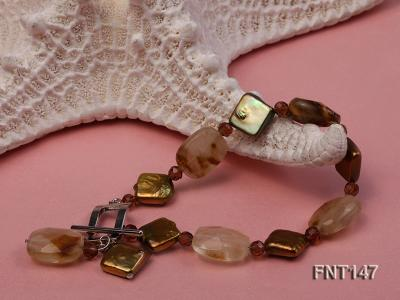 Rhombus Freshwater Pearl & Smoky Quartz Beads Necklace, Bracelet and Earrings Set FNT147 Image 4