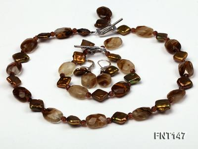 Rhombus Freshwater Pearl & Smoky Quartz Beads Necklace, Bracelet and Earrings Set FNT147 Image 1