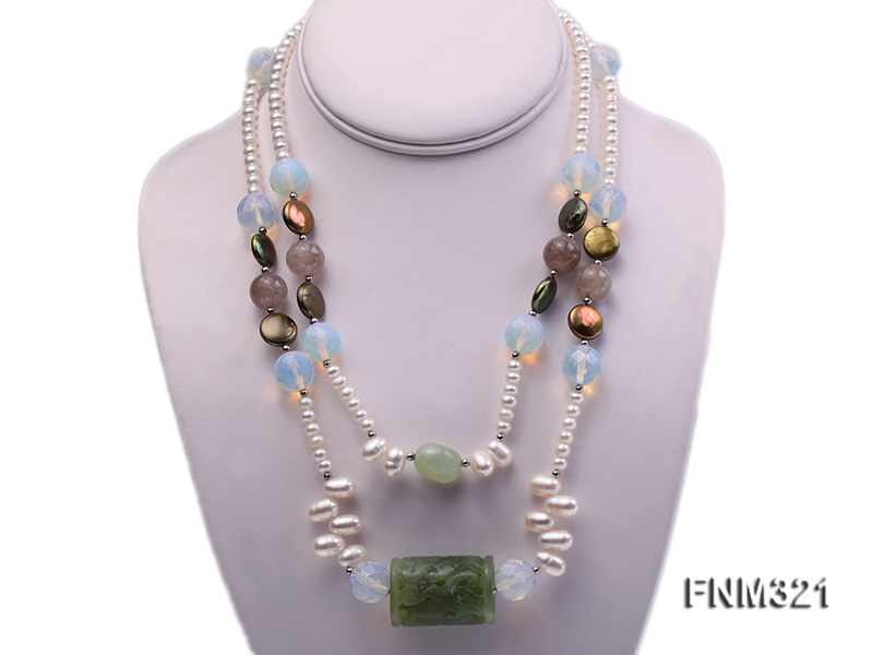 2 strand freshwater pearl and gemstone necklace big Image 1