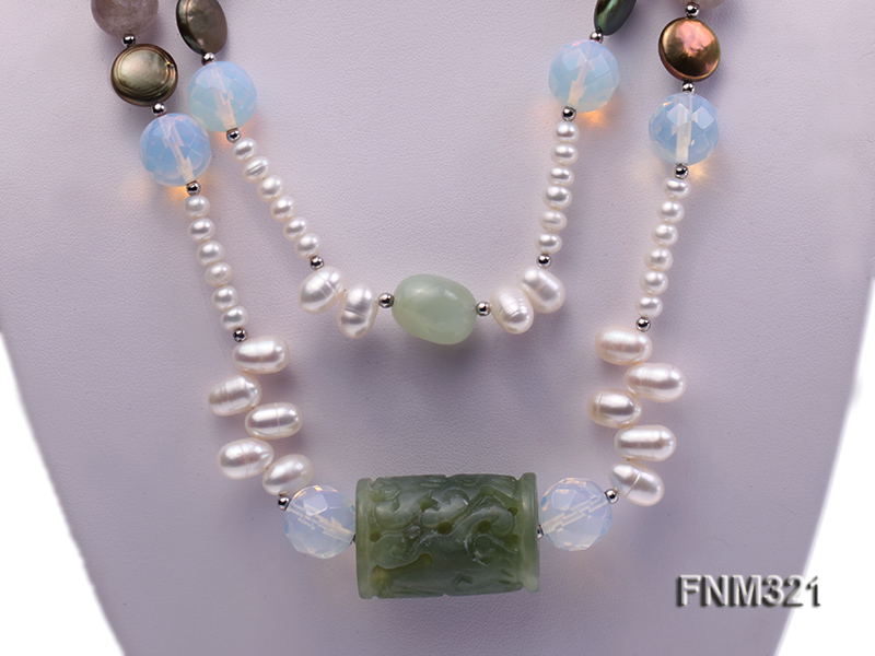 2 strand freshwater pearl and gemstone necklace big Image 2
