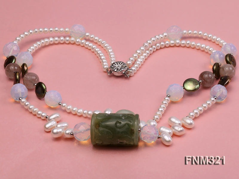 2 strand freshwater pearl and gemstone necklace big Image 3