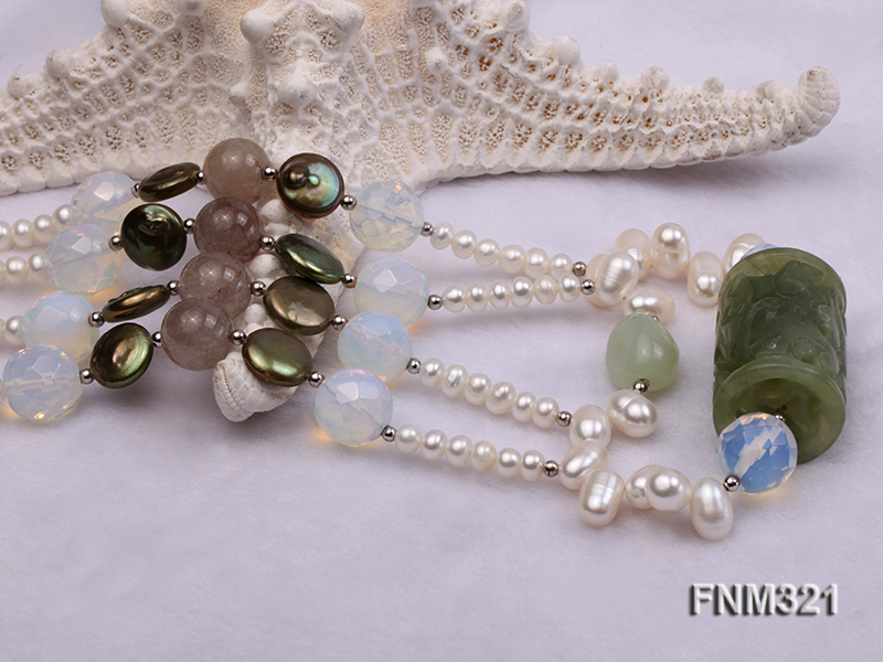 2 strand freshwater pearl and gemstone necklace big Image 5