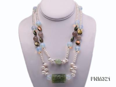 2 strand freshwater pearl and gemstone necklace FNM321 Image 1