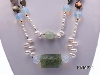2 strand freshwater pearl and gemstone necklace FNM321 Image 2