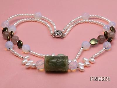 2 strand freshwater pearl and gemstone necklace FNM321 Image 3