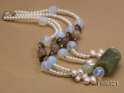 2 strand freshwater pearl and gemstone necklace FNM321 Image 4